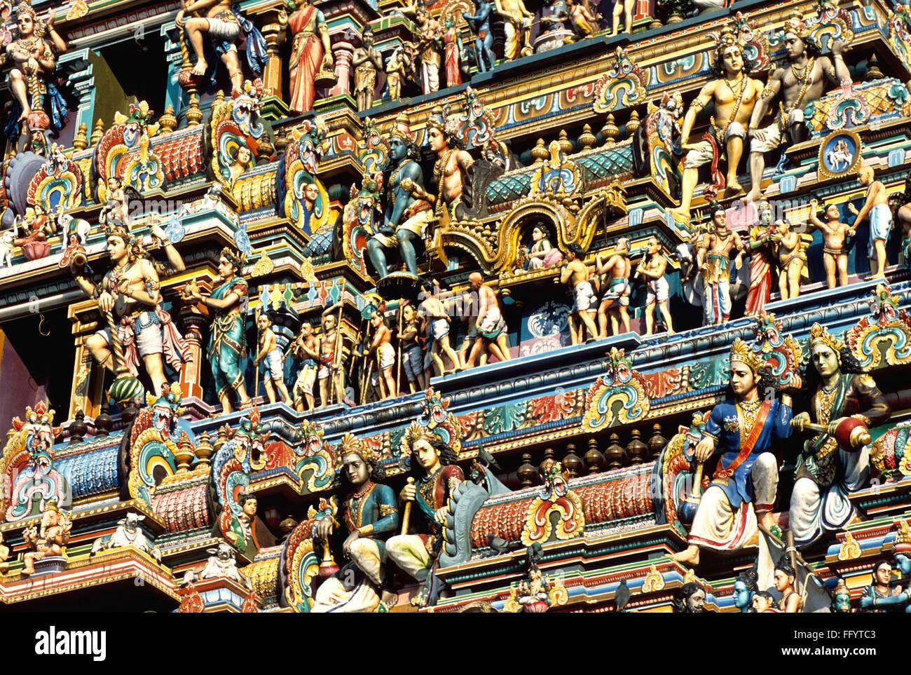Stucco figures on Kapaleeswarar temple tower at Mylapore ; Madras Chennai ; Tamil Nadu ; India - Stock Image