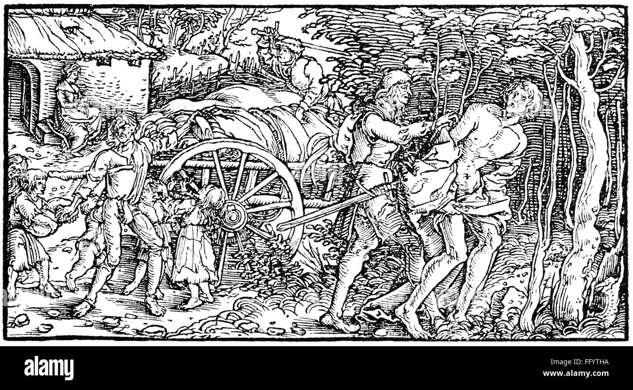 justice, crime, holdup, holdup of a merchant, poor people are chased away by the robbers, woodcut, circa 1500, Additional - Stock Image
