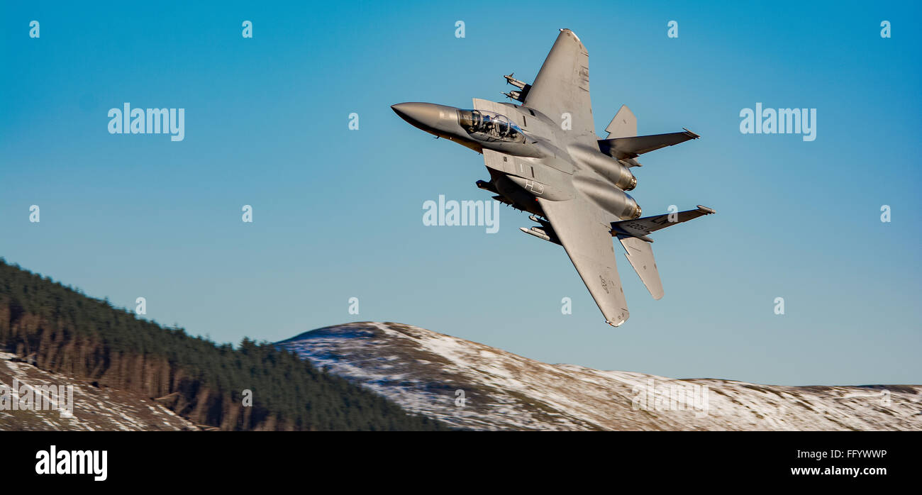 F15 in the Mach Loop in Wales Stock Photo