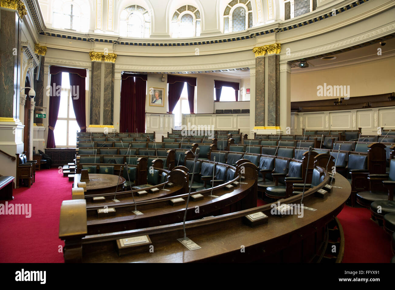 The main debating Chamber in the Council House, Birmingham, UK. - Stock Image