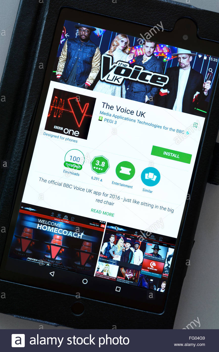 UK TV show the Voice app on an android tablet PC, Dorset, England, UK - Stock Image
