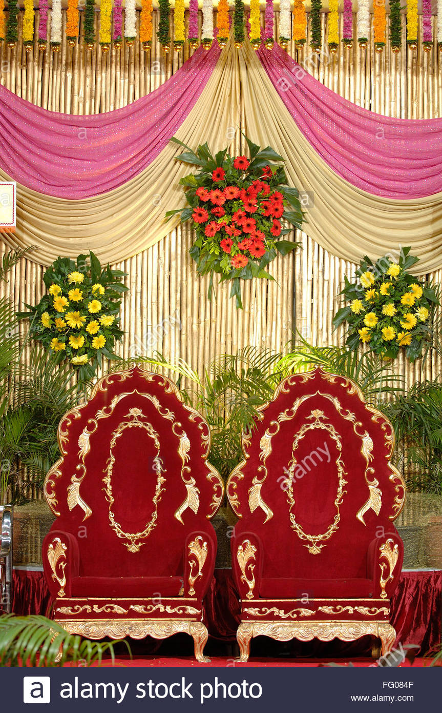 Wedding Stage Decoration With Flowers In Hindu Stock Photos