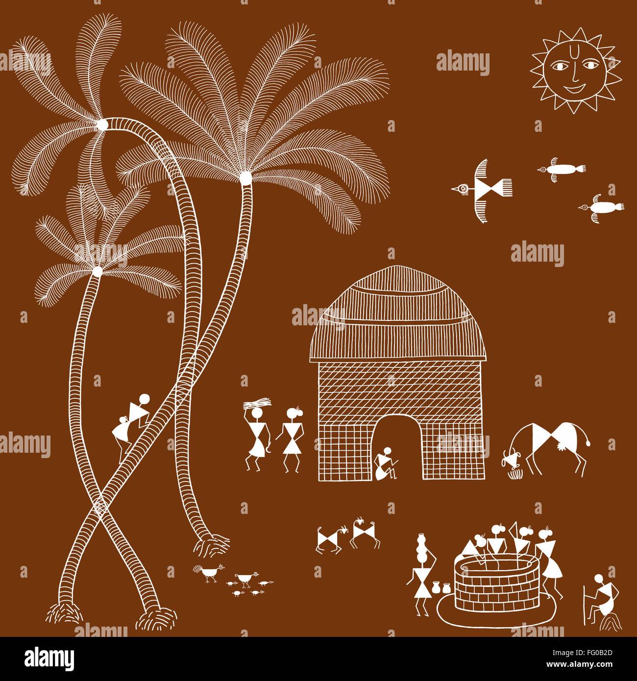warli painting India Asia - Stock Image
