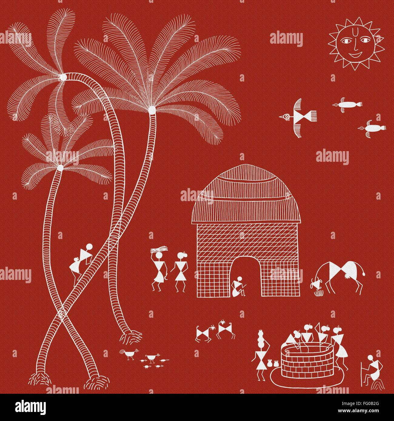 Warli painting india asia stock photo 95895032 alamy warli painting india asia thecheapjerseys Image collections