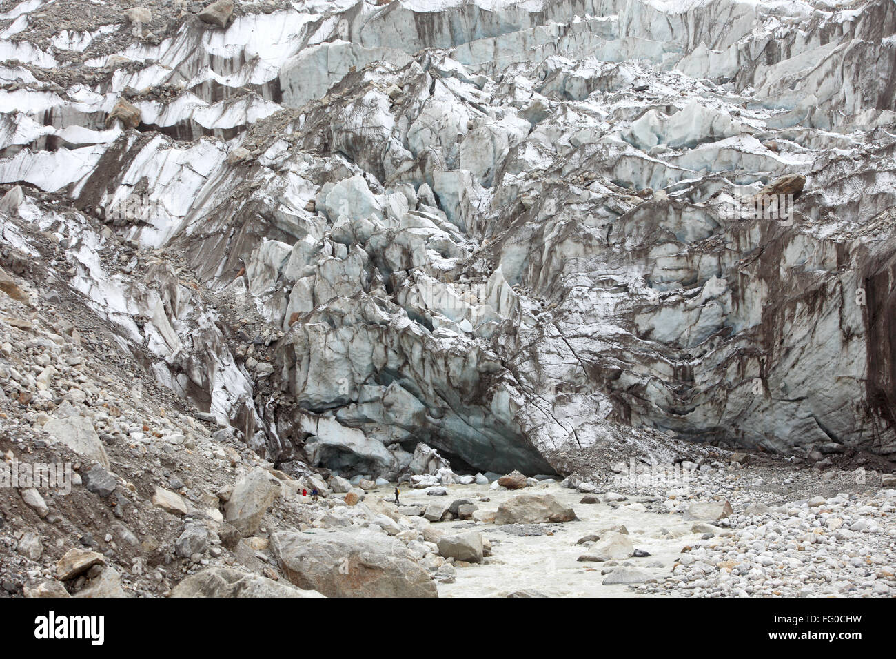 Gaumukh mighty river Ganga Gangotri Uttarakhand India Asia Stock Photo