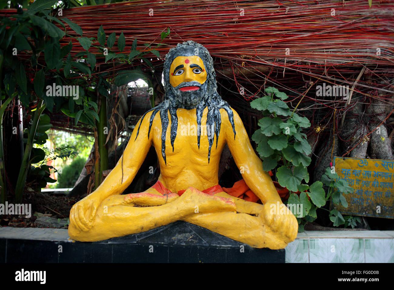 A statue of sadhu in meditation Uttarakhand India  Asia - Stock Image