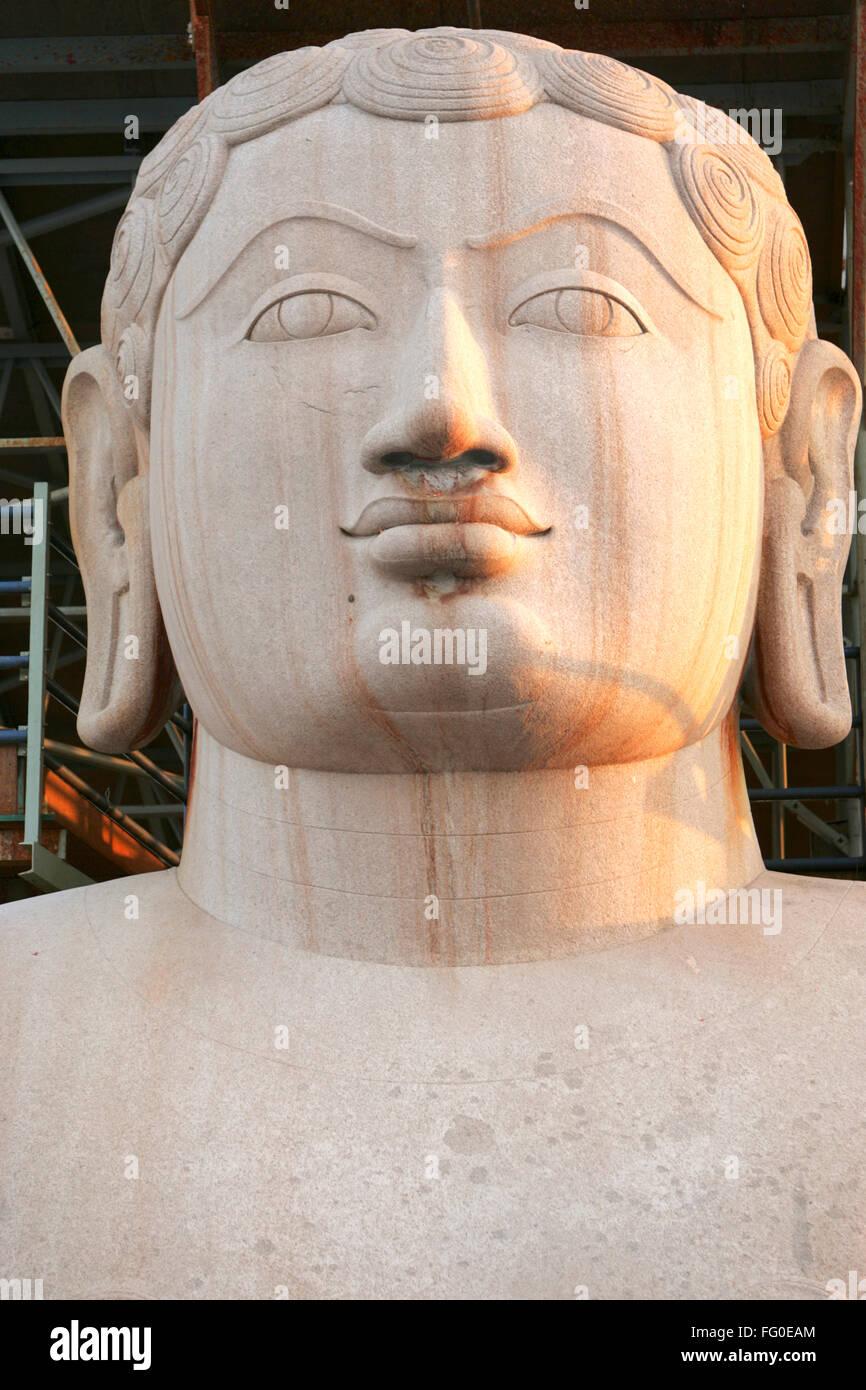 Eighteen meter high statue bhagwan saint gomateshwara bahubali mahamasthakabhisheka Jain festival Shravanabelagola - Stock Image
