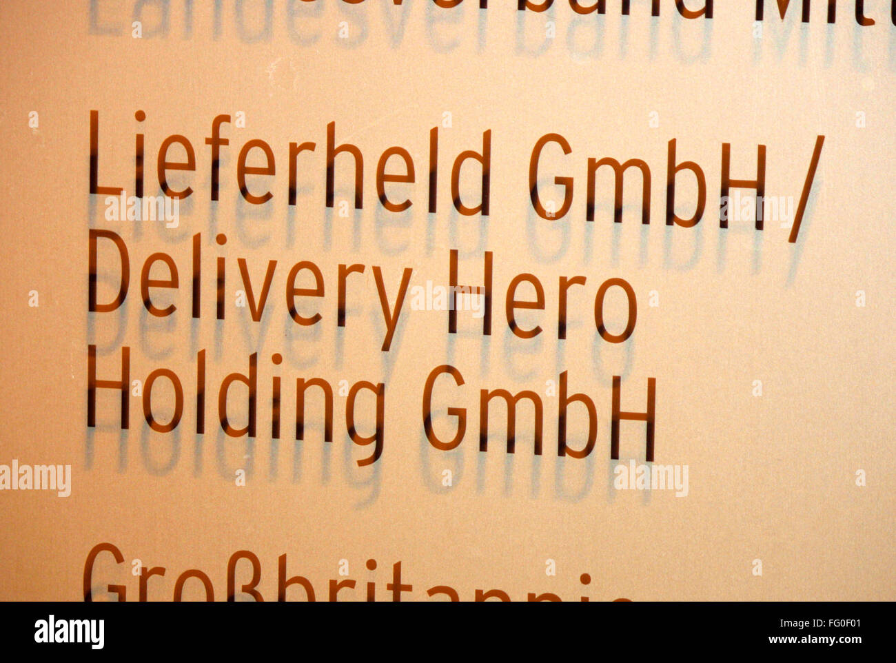 Markenname: 'Lieferheld' 'Delivery Hero', Berlin. - Stock Image