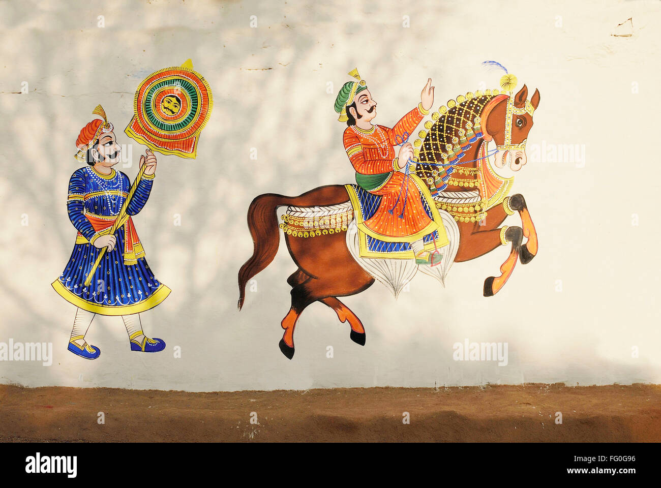 Wall Painting Of Horse At Shilpgram Udaipur Rajasthan India Stock Photo Alamy