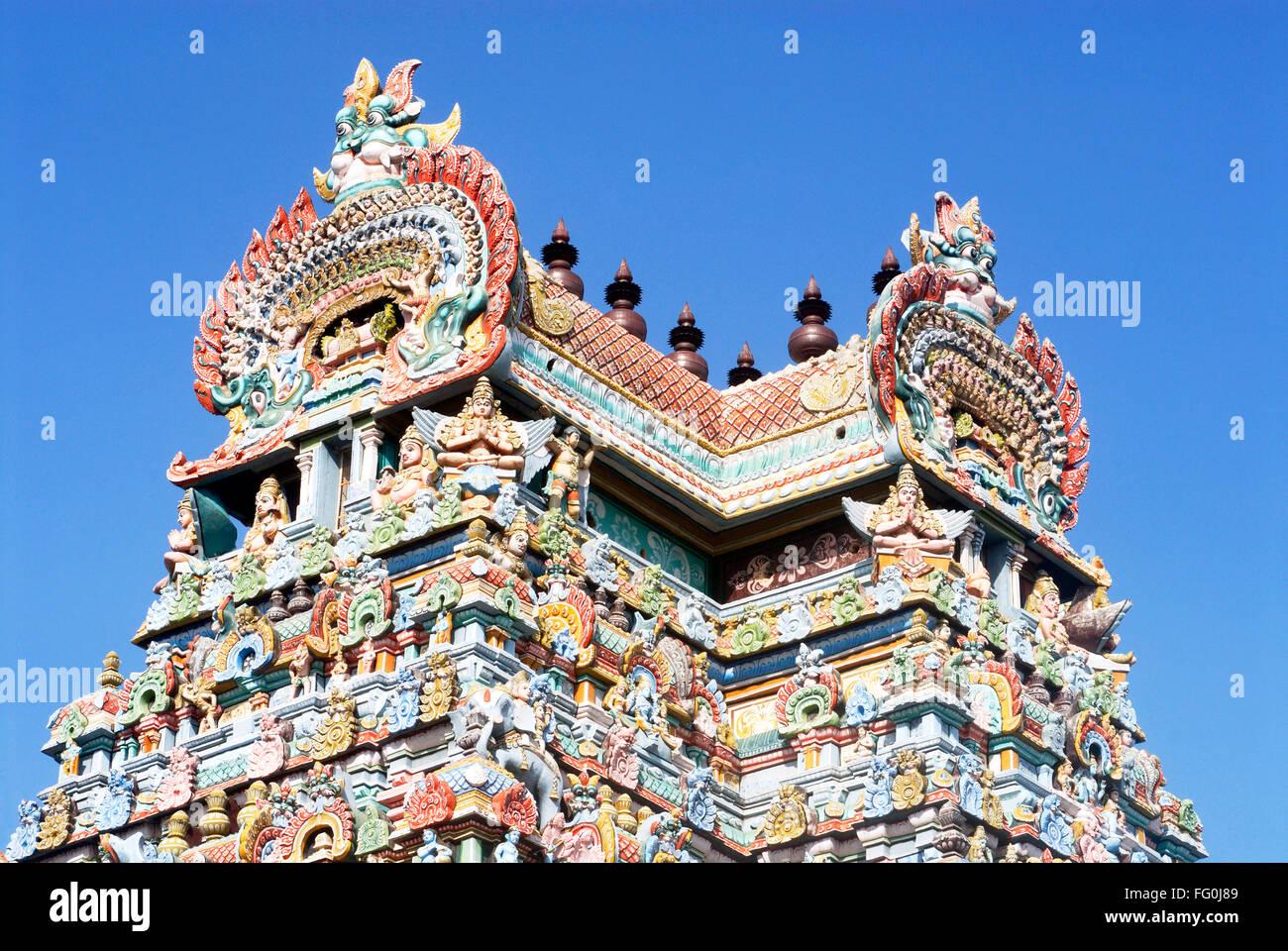 Gopuram richly decorated stucco figures impressive gateway Sri Ranganathswami temple Srirangam Tiruchirapalli Tamil Stock Photo