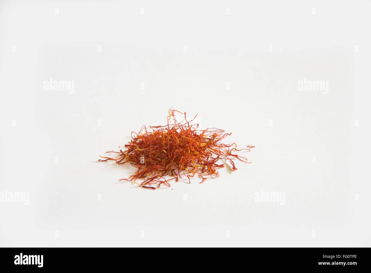 Indian spice , Saffron Kesar Crocus sativus on white background - Stock Image