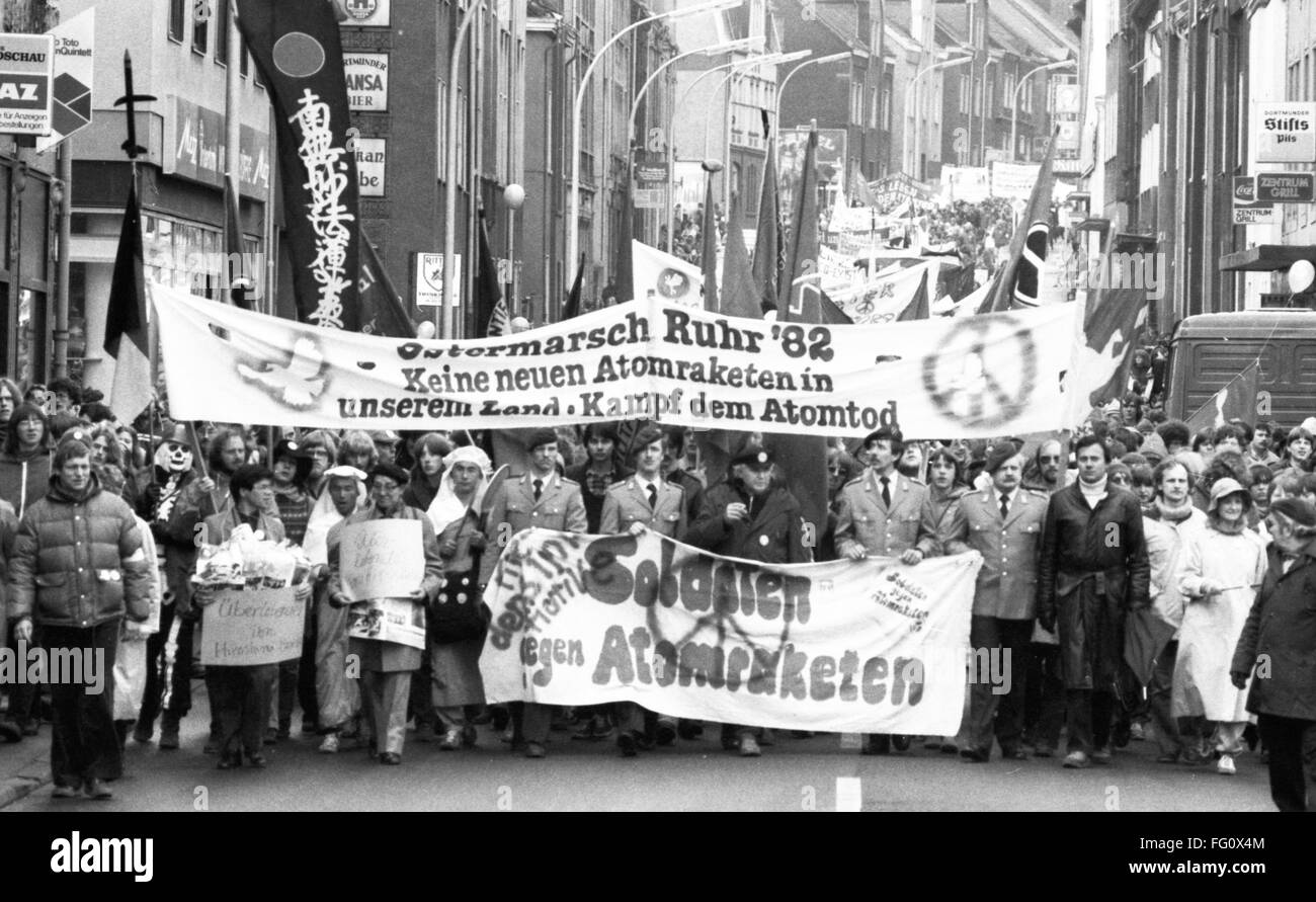 Traditional easter march in the Ruhr region in Germany on 10 April 1982. - Stock Image