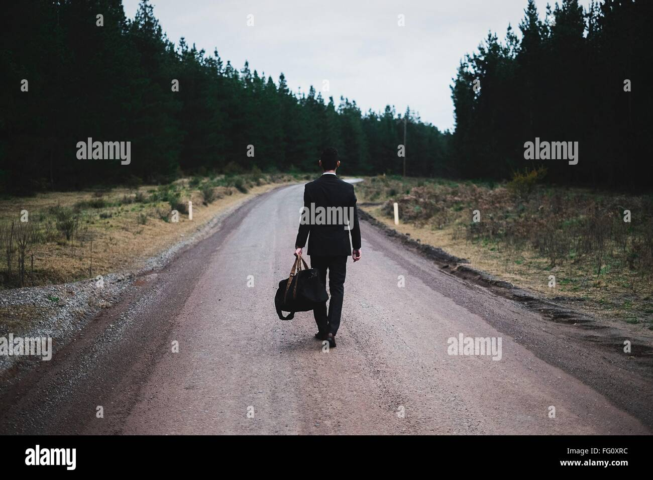 Full Length Rear View Of Man With Luggage Walking On Road Against Sky - Stock Image