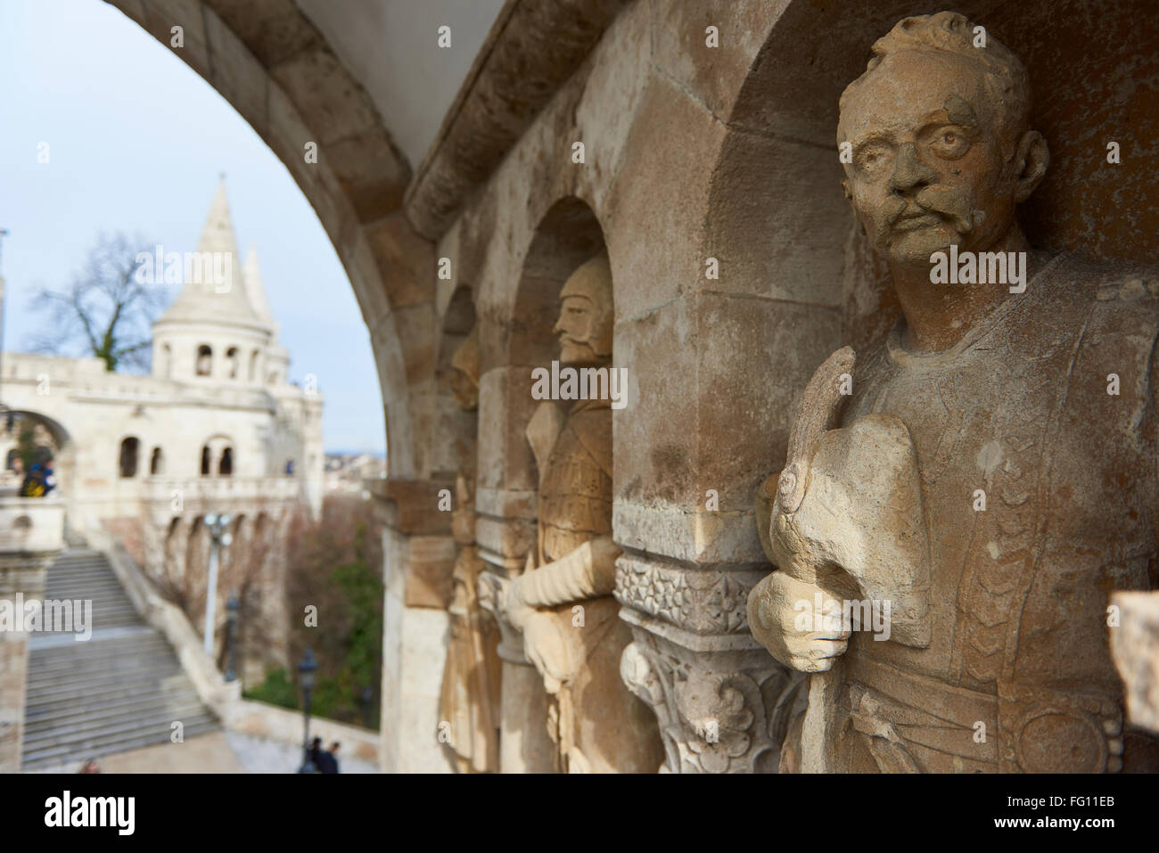 BUDAPEST, HUNGARY - FEBRUARY 02: Detail of stone soldier statue in one of the arches at Fisherman's Bastion, in Stock Photo
