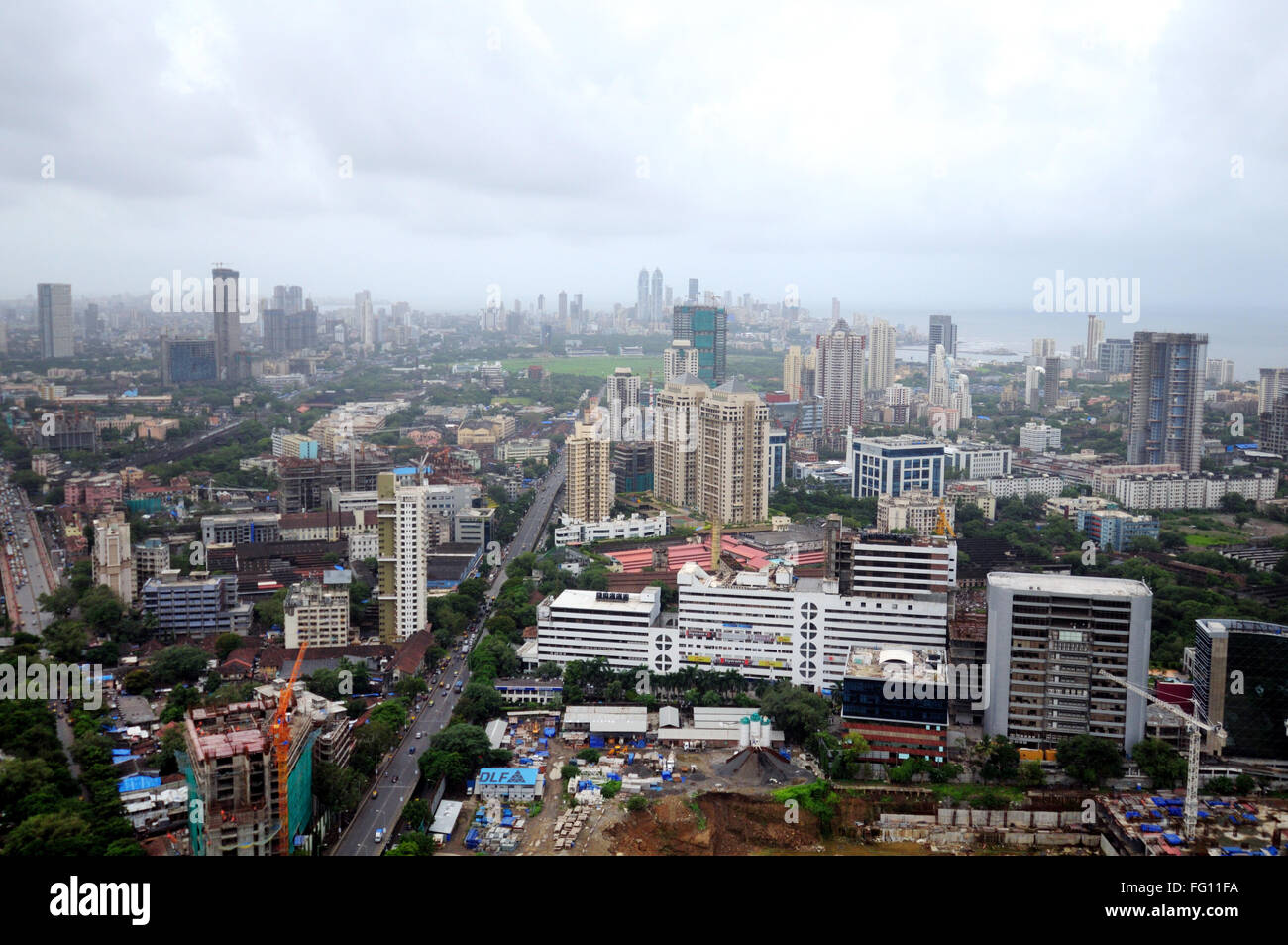 aerial view of lower parel with kamla mills dlf projects and peninsula corporate park ; Bombay Mumbai ; Maharashtra - Stock Image