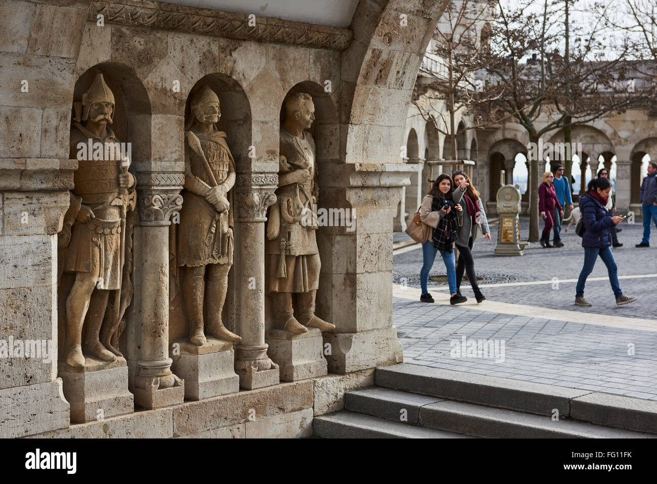 BUDAPEST, HUNGARY - FEBRUARY 02: Stone soldiers in one of the arches at Fisherman's Bastion, in the Old Town district, Stock Photo