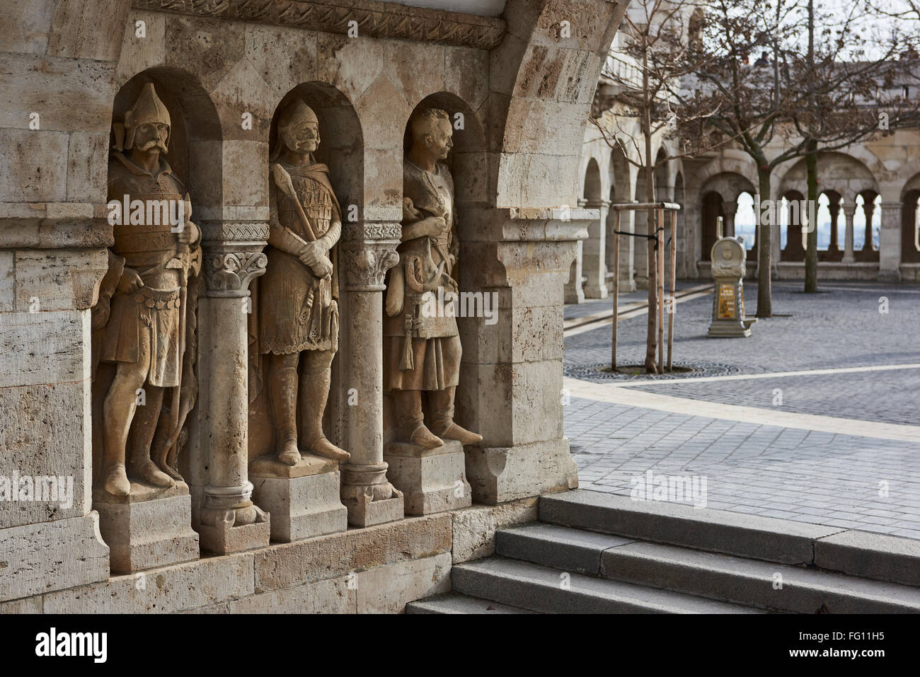 BUDAPEST, HUNGARY - FEBRUARY 02: Stone soldiers in one of the arches at Fisherman's Bastion, in the Old Town district. Stock Photo
