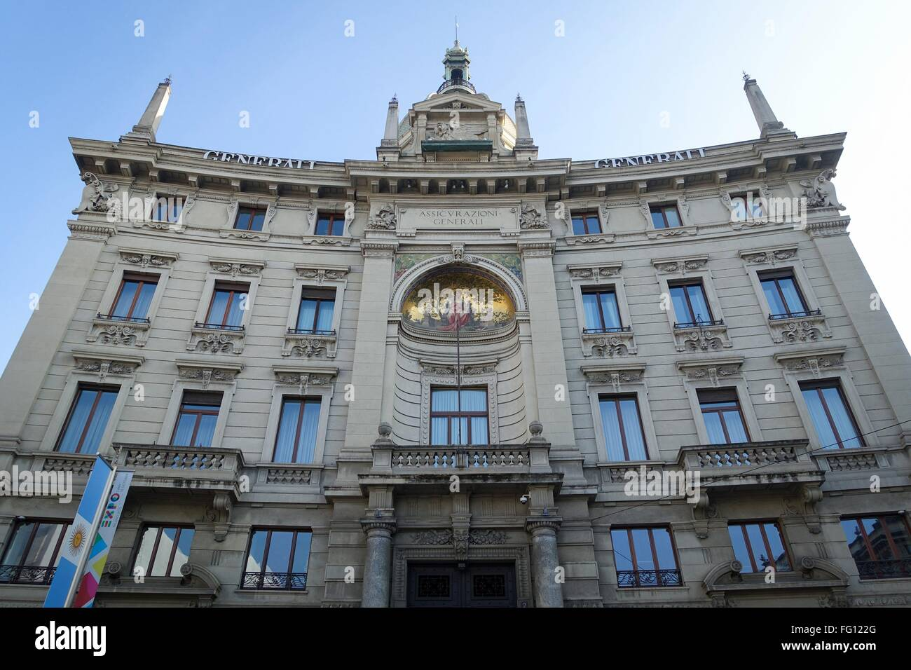 Italy: Headquarters of Generali Group in inner city of Milan. Photo from 31. January 2016. Stock Photo