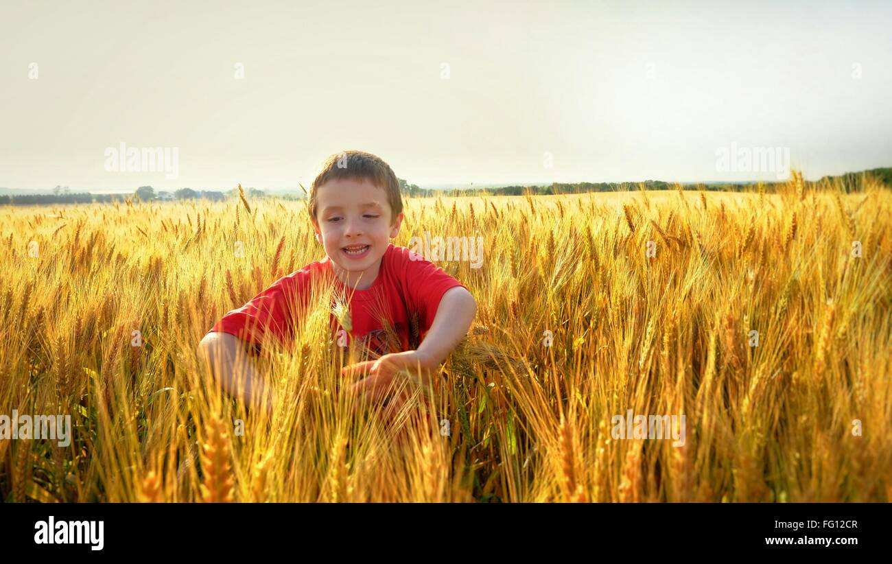 Boy Playing In Crop Field Against Clear Sky - Stock Image