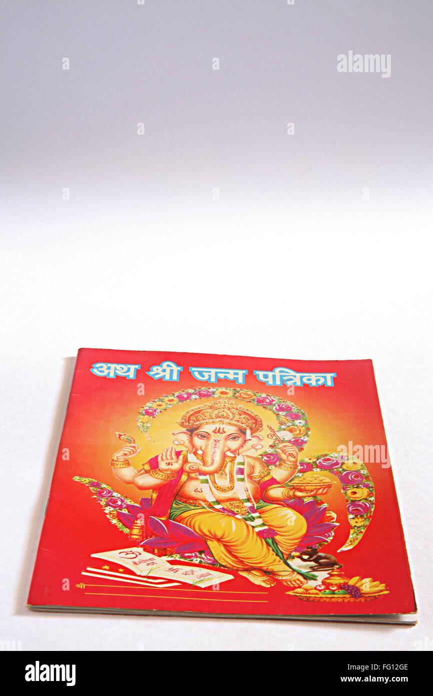Concept , Hinduism janmpatri birth chart horoscope nativity on white background - Stock Image