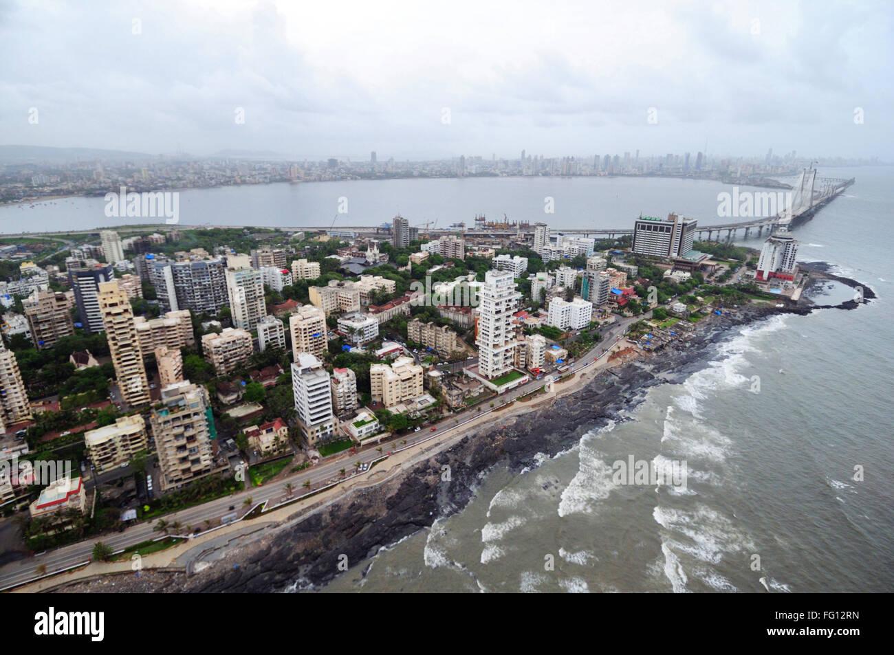 aerial view of bandra band stand with bandra worli rajiv gandhi sea link ; Bombay Mumbai ; Maharashtra ; India - Stock Image