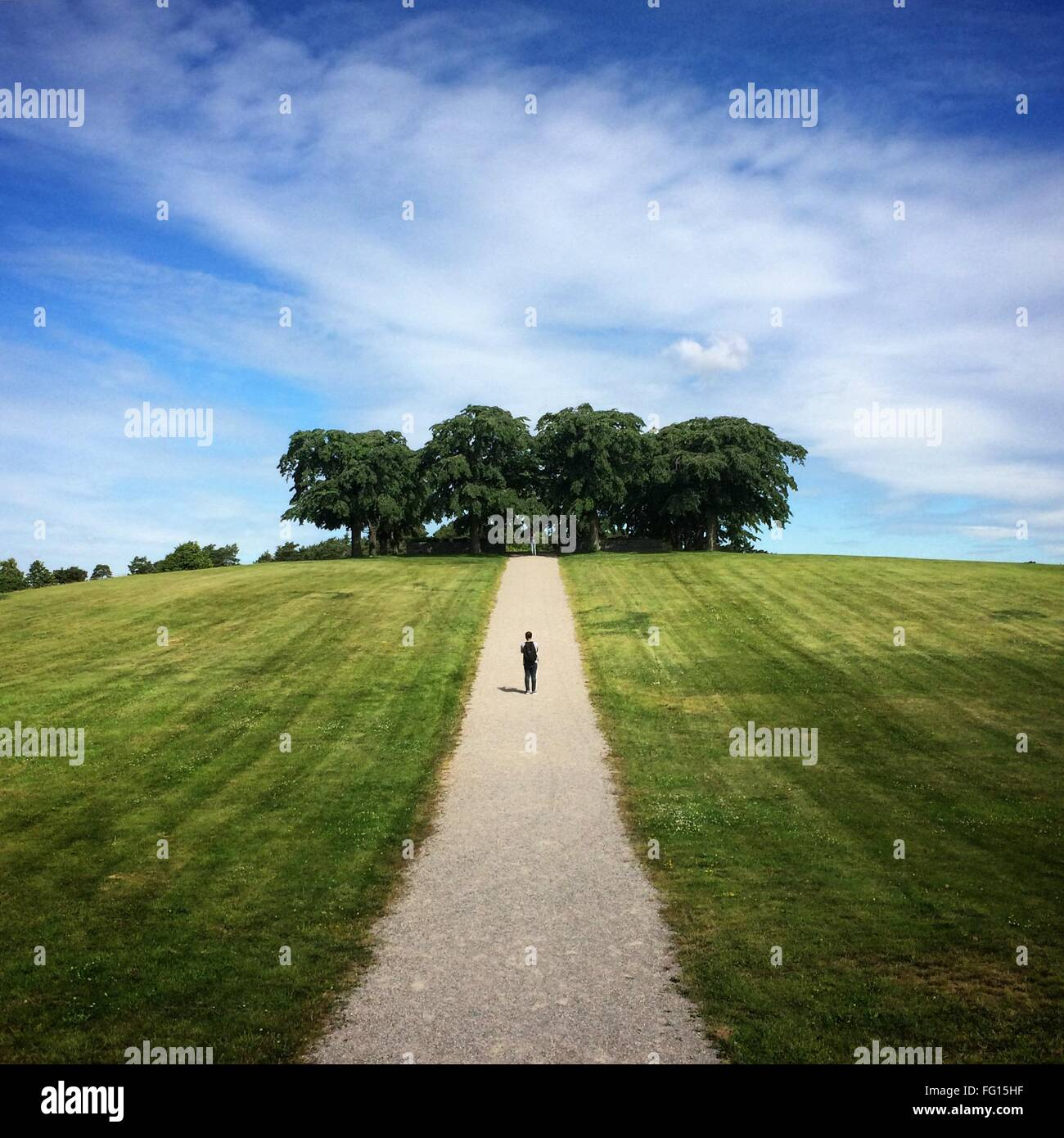 Man standing on road on grassy field against sky - Stock Image
