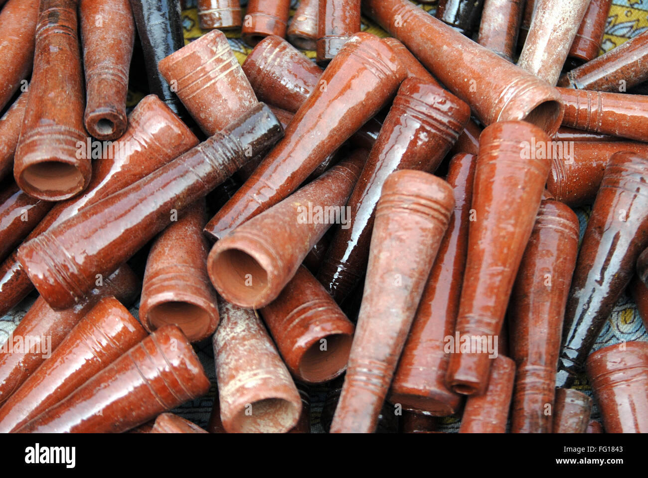 Smoking earthen container chillum used for drug ganja charas - Stock Image