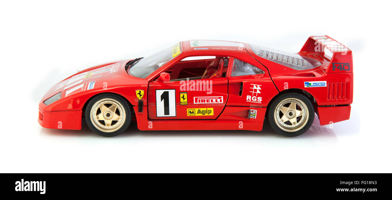 Ferrari F40 in race trim on a white background - Stock Image