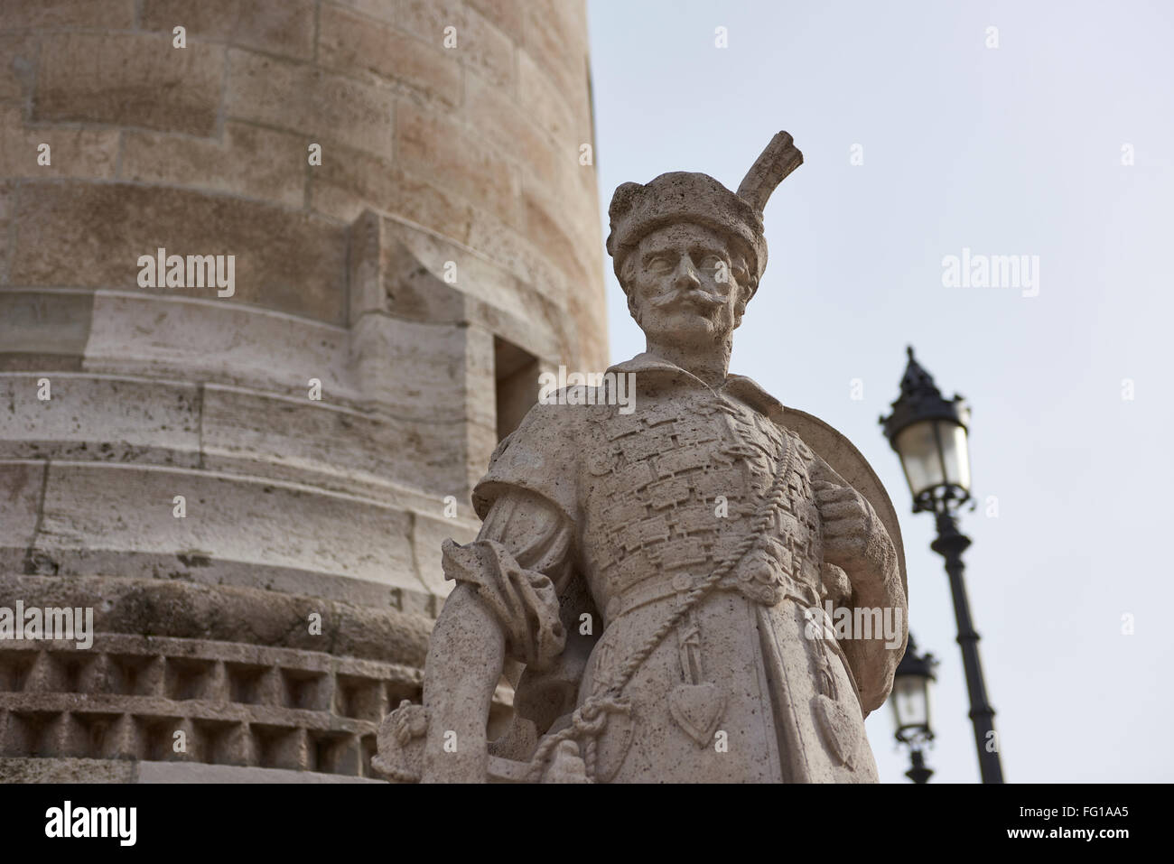 BUDAPEST, HUNGARY - FEBRUARY 02: Detail of stone soldier statue in one of the spires at Fisherman's Bastion, in Stock Photo