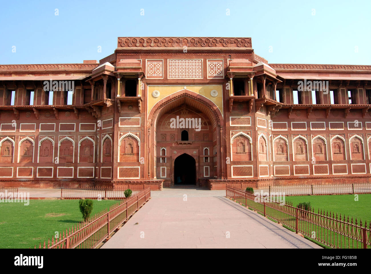 Wide view of jahangir palace inside red fort , Agra , Uttar Pradesh , India - Stock Image