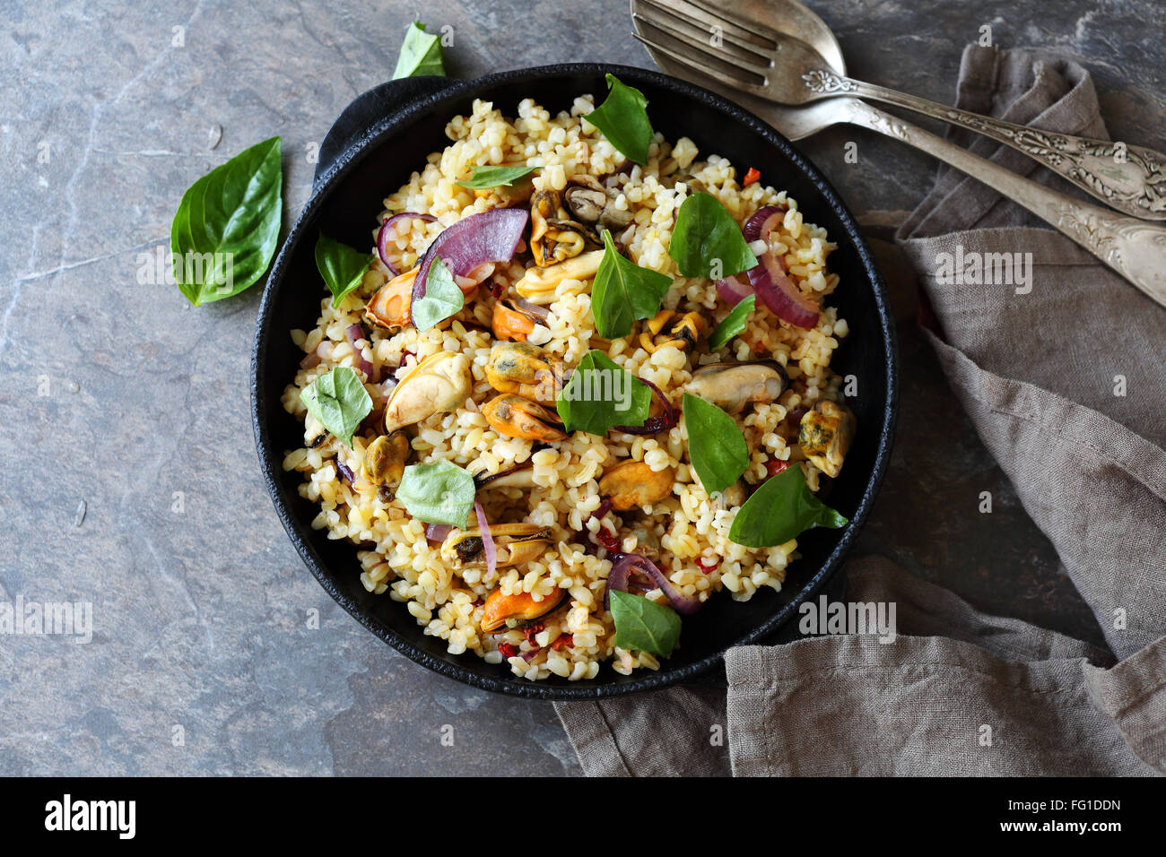 paella with bulgur, food top view - Stock Image