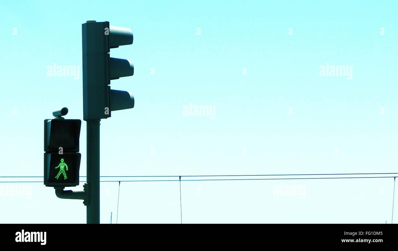 Stoplight Against Clear Sky - Stock Image