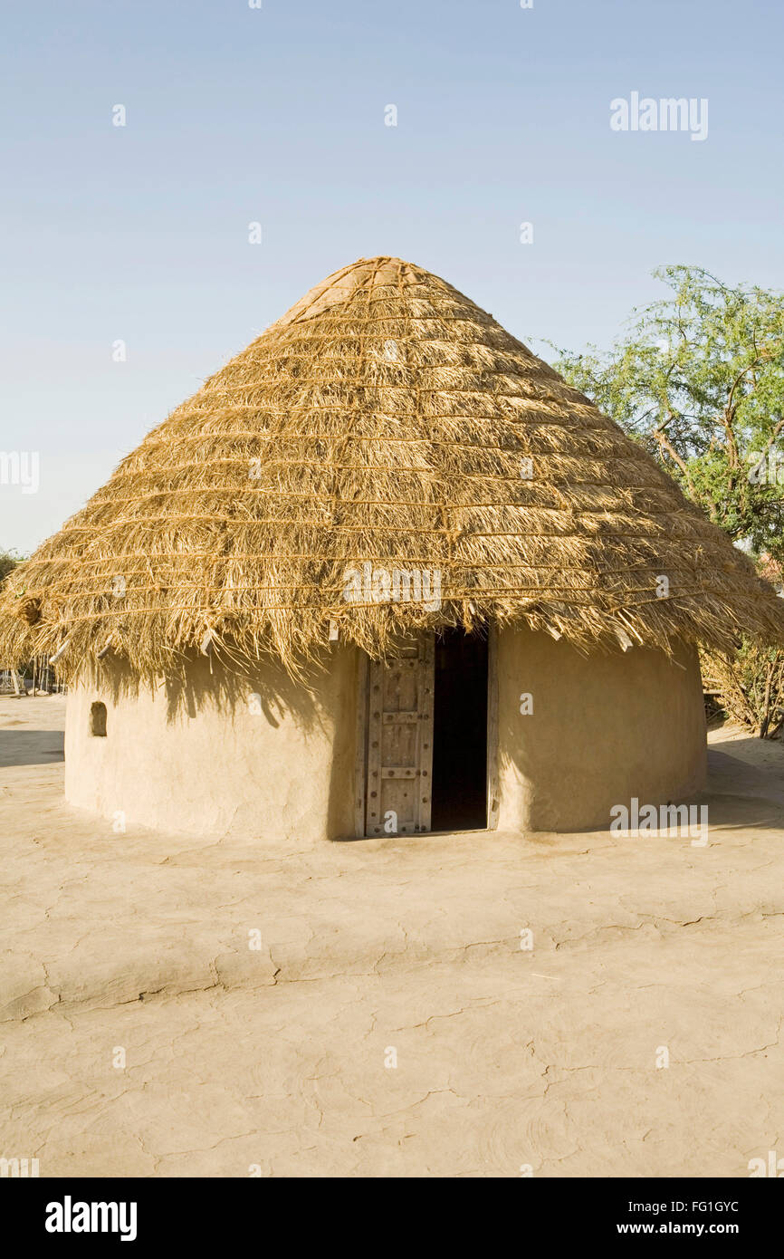 Bhunga traditional circular house with mud walls and thatched conical roof kutch gujarat