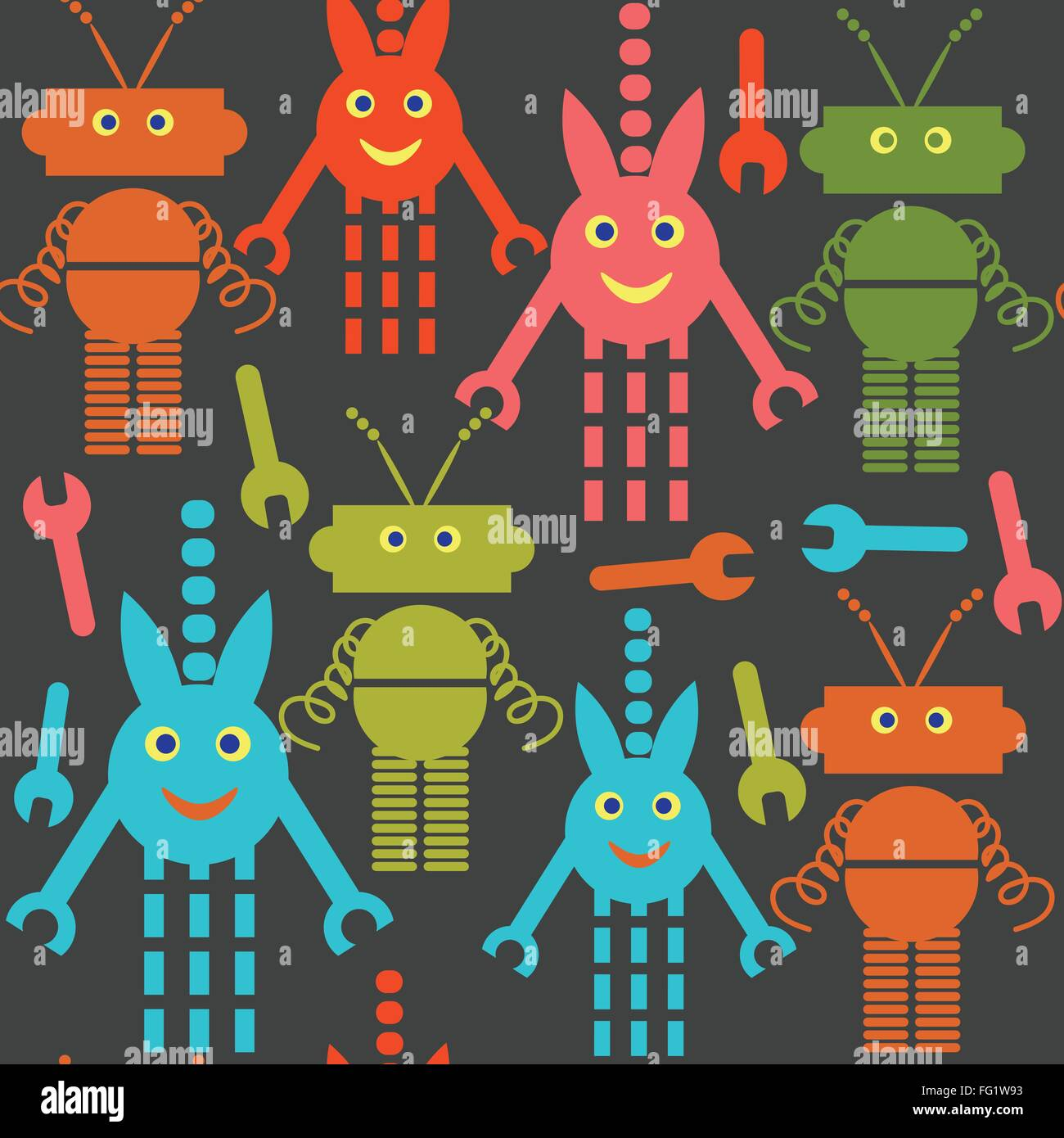Robots and monsters seamless pattern and seamless pattern in swatch menu, vector image Stock Vector