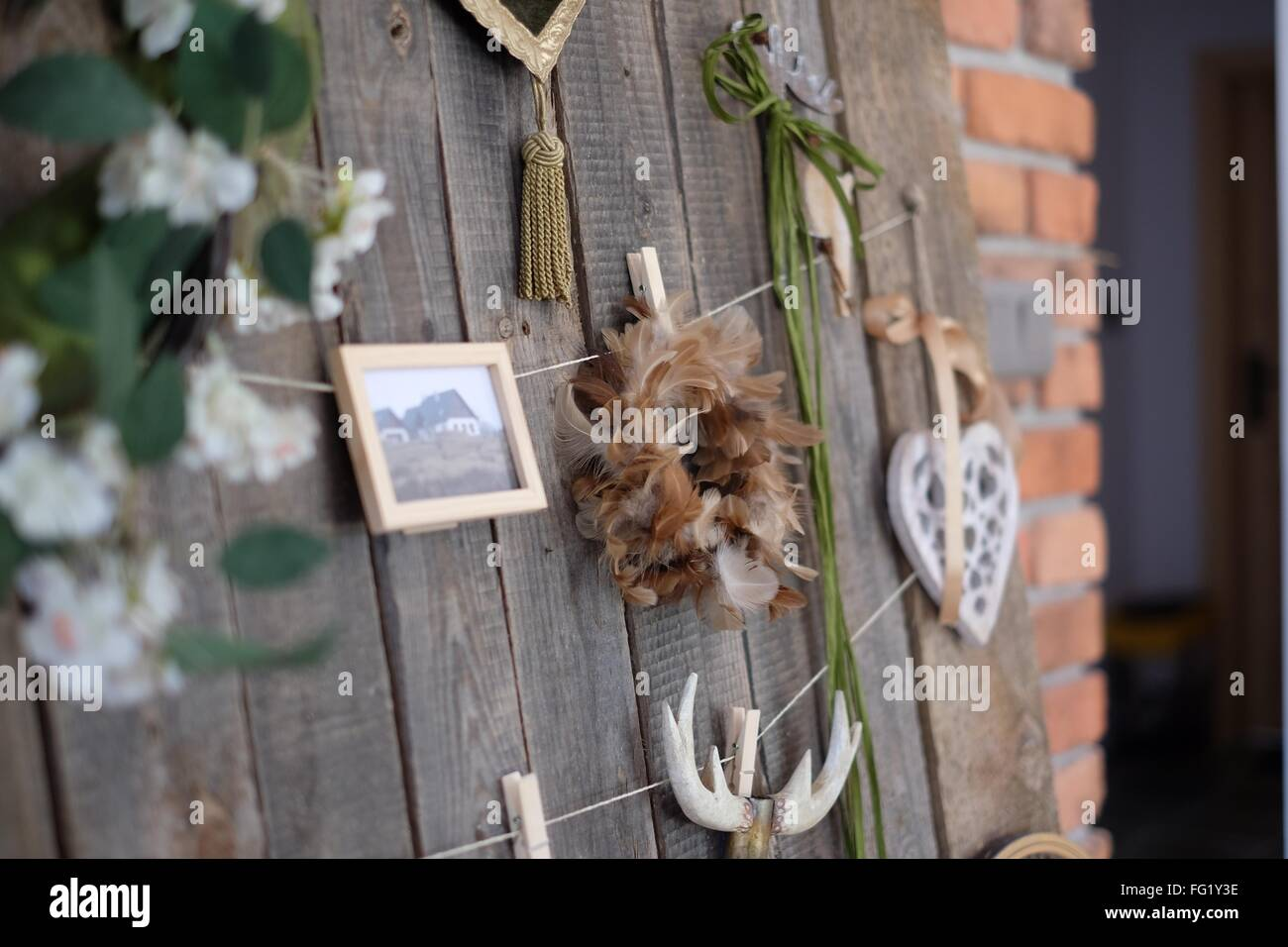 Dreamcatcher On Wooden Door - Stock Image