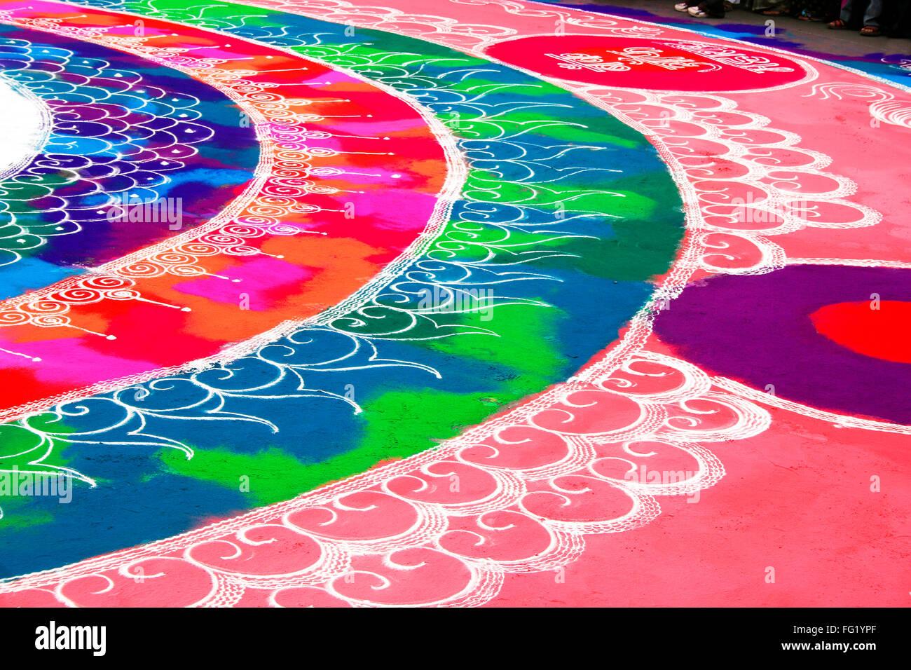 Rangoli depicting auspicious occasion , Pune , Maharashtra , India - Stock Image