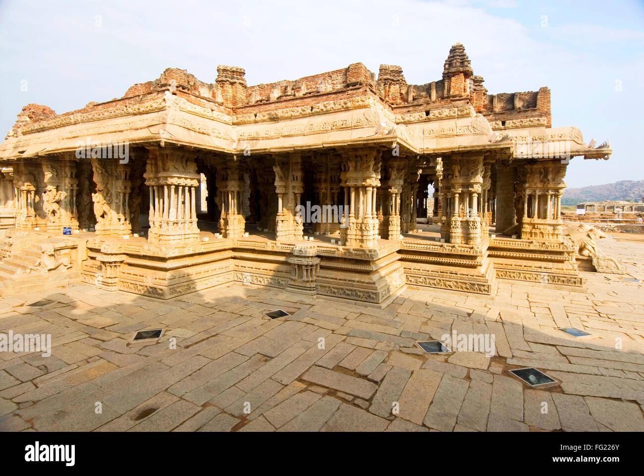 Sixteenth century Vithala temple monument of Hampi fames for musical pillars , Karnataka , India World Heritage - Stock Image