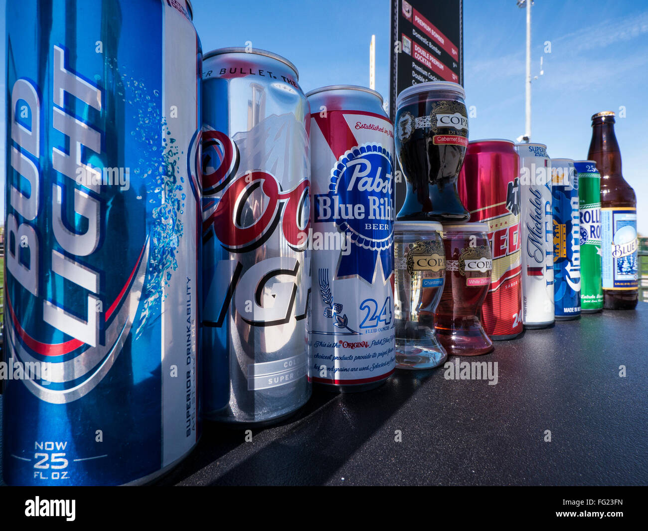 Beers at spring training baseball game, Surprise Stadium, Surprise Recreational Campus, Surprise, Arizona. - Stock Image