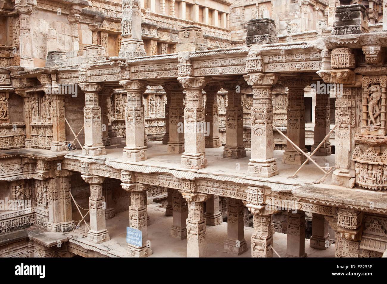 Evan ; pillars at queens step well ; Patan ; Gujarat ; India - Stock Image