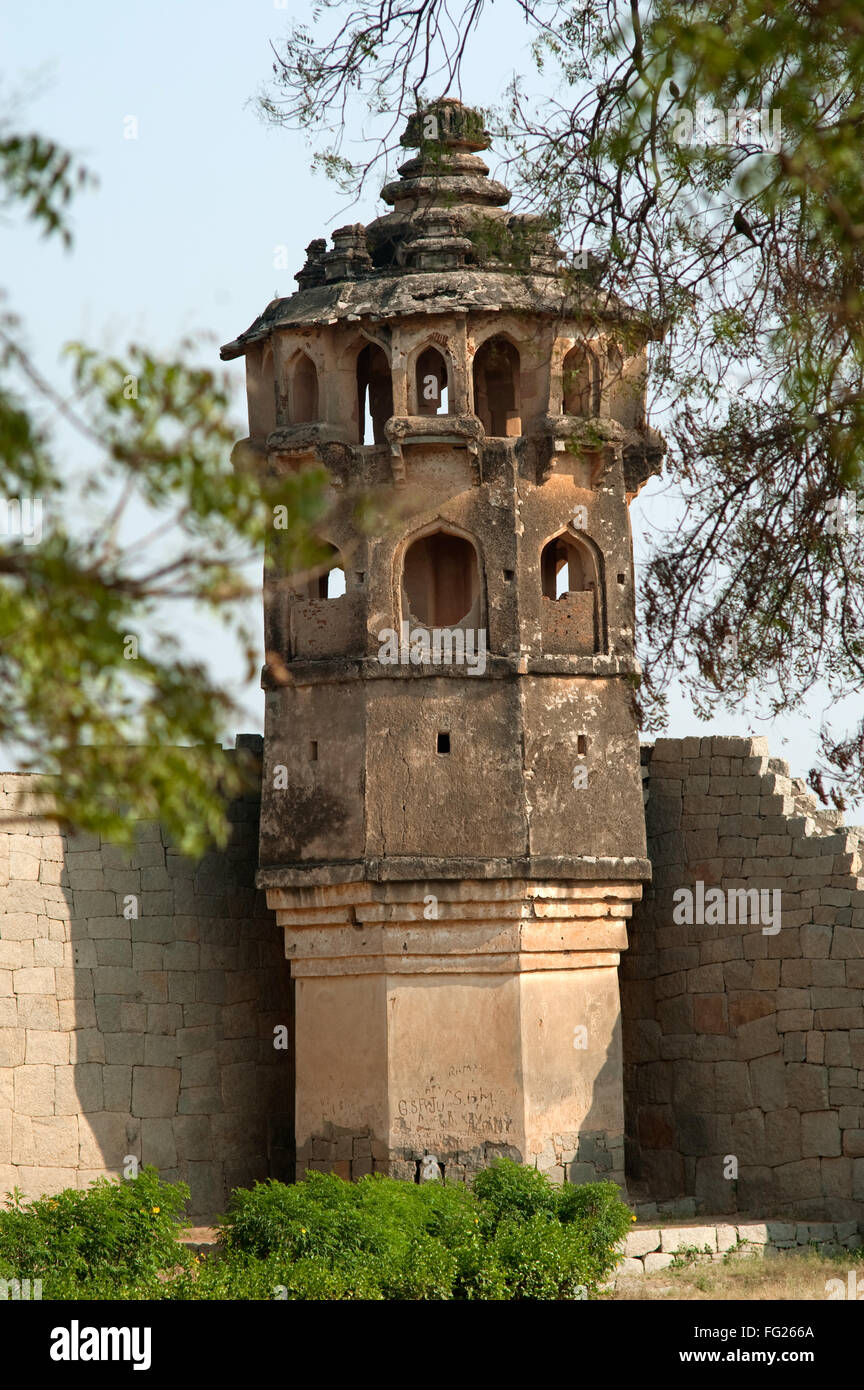 Decorated bastion on the fore corner at lotus mahal ; Hampi ; Karnataka ; India - Stock Image