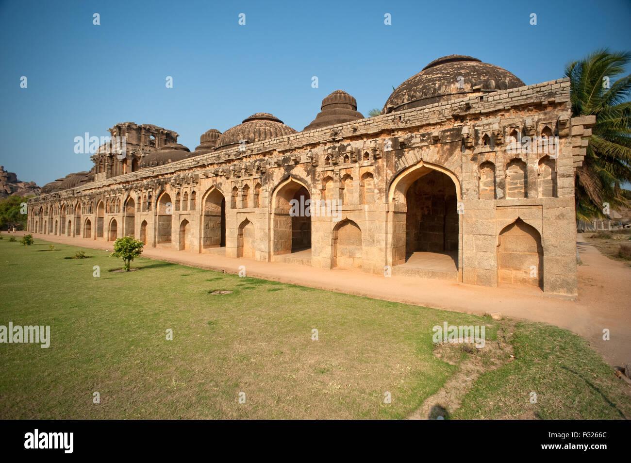 Elephant stables ; Hampi ; Karnataka ; India - Stock Image