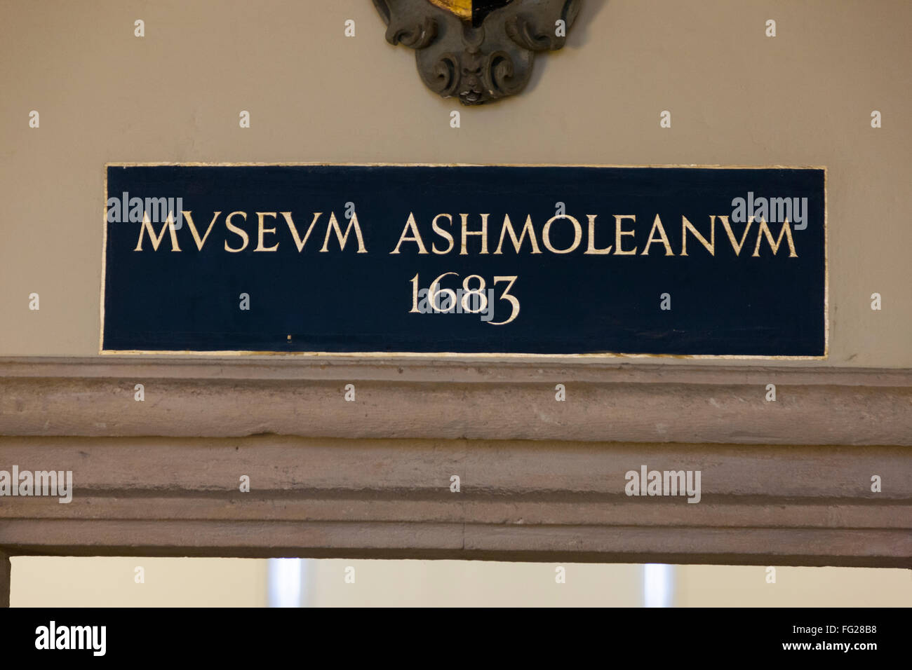 Reference to the 'Old Ashmolean Museum' 1693, inside the building of Museum of the History of Science. Oxford. - Stock Image