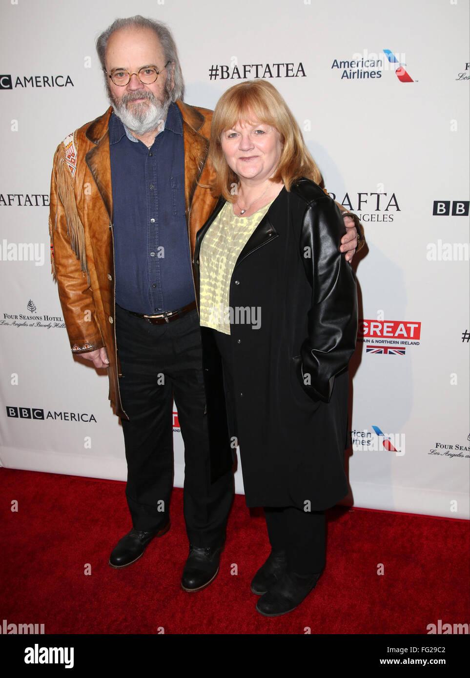 BAFTA Los Angeles Awards Season Tea at The Four Season Los Angeles - Arrivals  Featuring: Lesley Nicol, David Keith - Stock Image