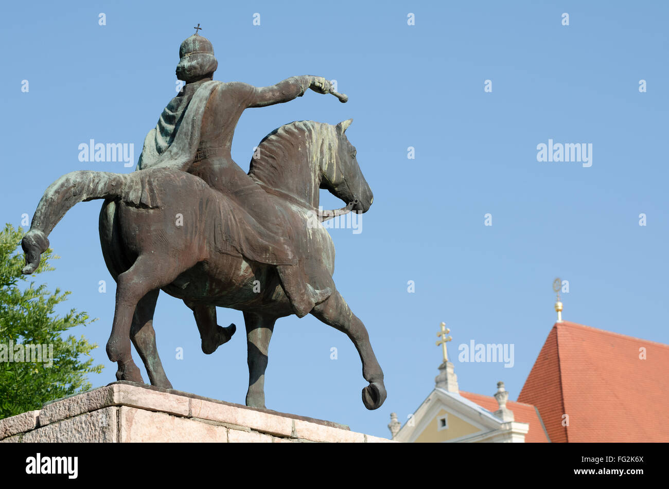 Equestrian Statue of St. Stephen in Gyor from Behind with Clear Blue Sky Stock Photo