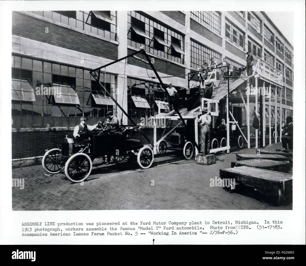 1913 assembly line production was pioneered at the ford motor company plant in detriot michigan in this 1913 photograph workers assemble the famous