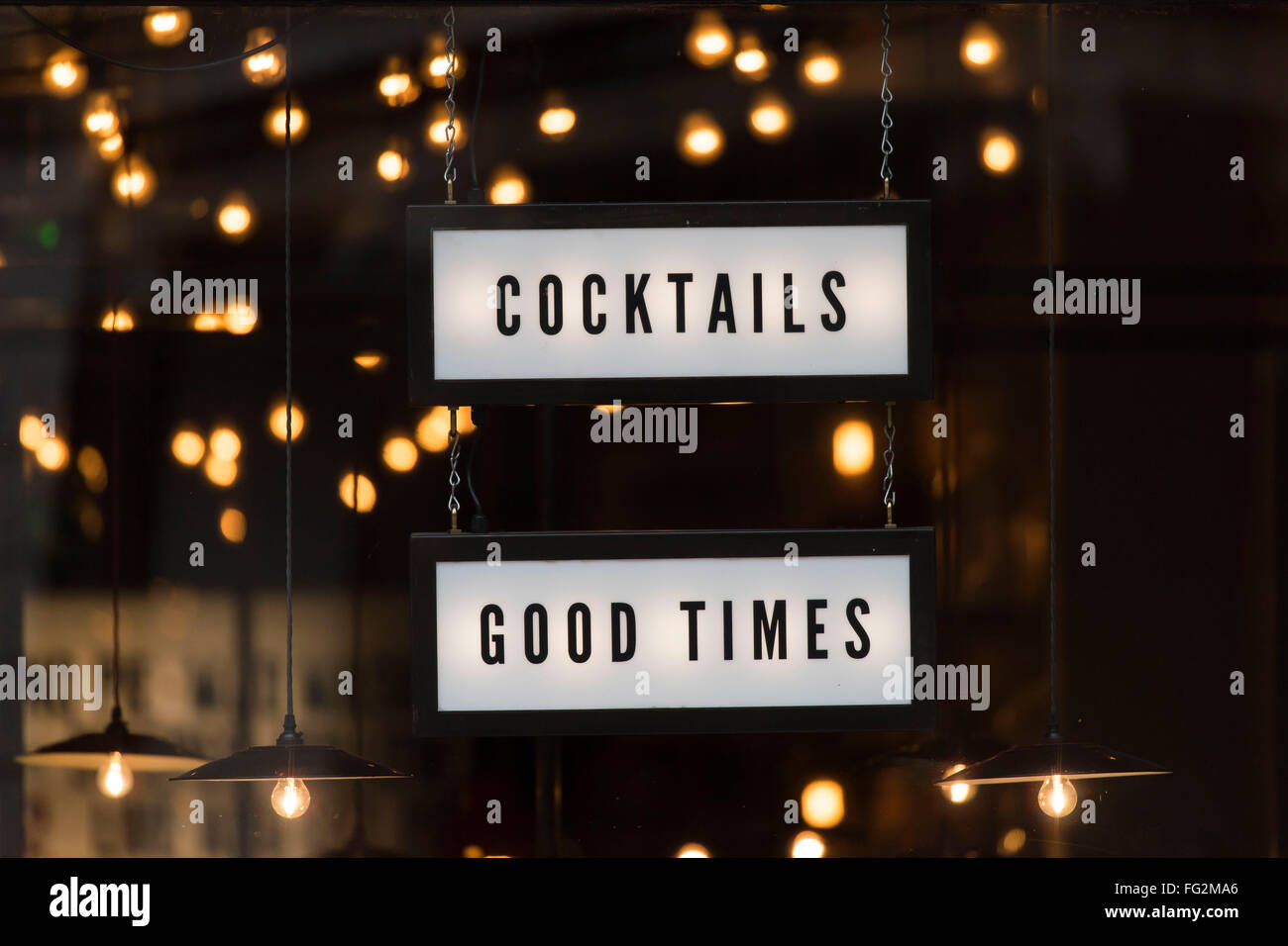 Cocktails good times sign. - Stock Image