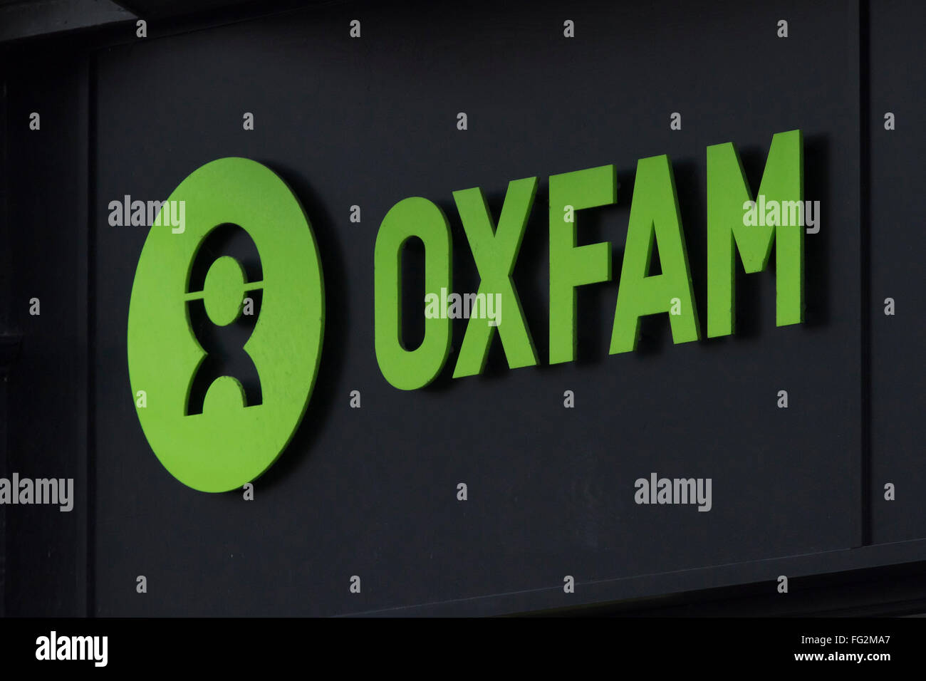 Oxfam charity sign logo - Stock Image