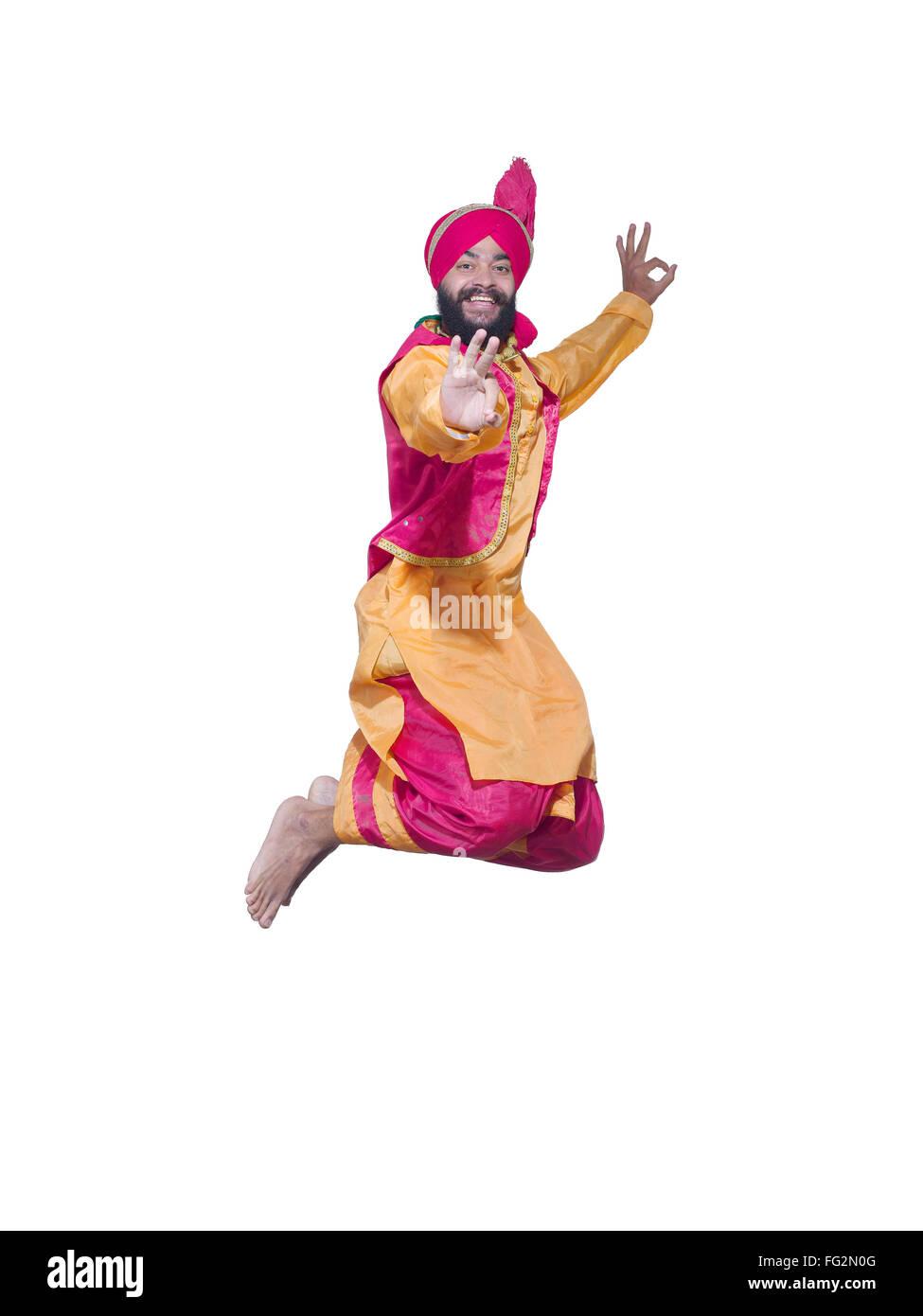 Dancer performing folk dance bhangra MR#779B - Stock Image