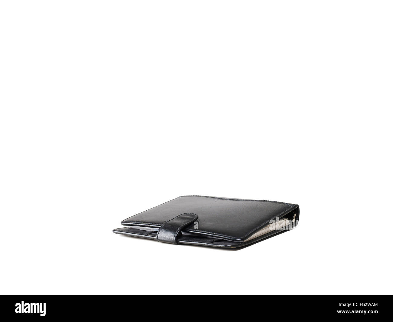 Leather diary on white background - Stock Image