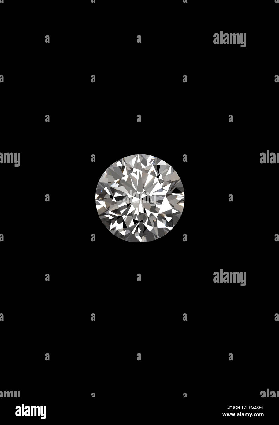 Diamond on black background - Stock Image